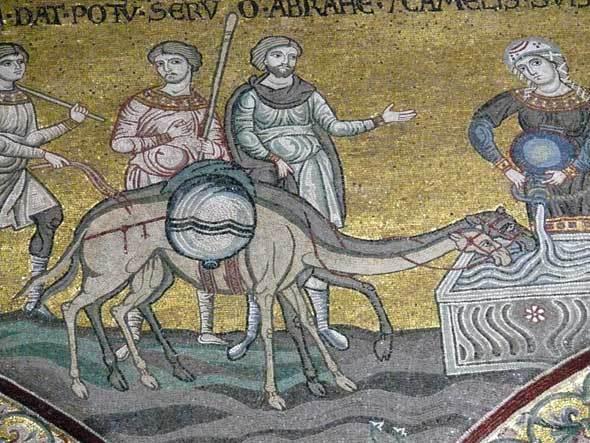 Le serviteur d'Isaac découvrant Rébecca au puits (cathédrale de Monreale)