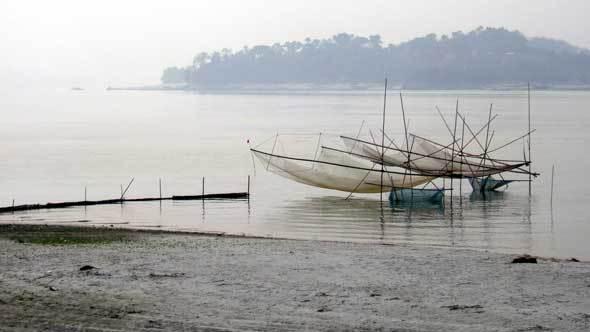 Filets de pêche sur le Brahmapoutre
